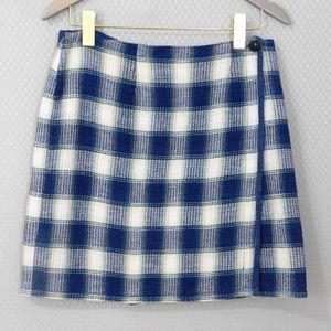St Johns Bay Blue Plaid Mini Wrap Skirt